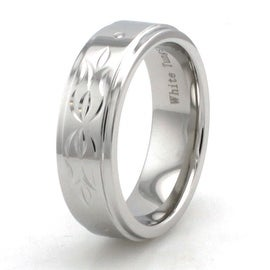 Hand Carved White Tungsten Floral Ring w/ Polished Finish Step-Down Edge