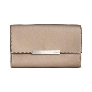 Calvin Klein Womens Clutch Handbag Faux Leather Metallic - Medium