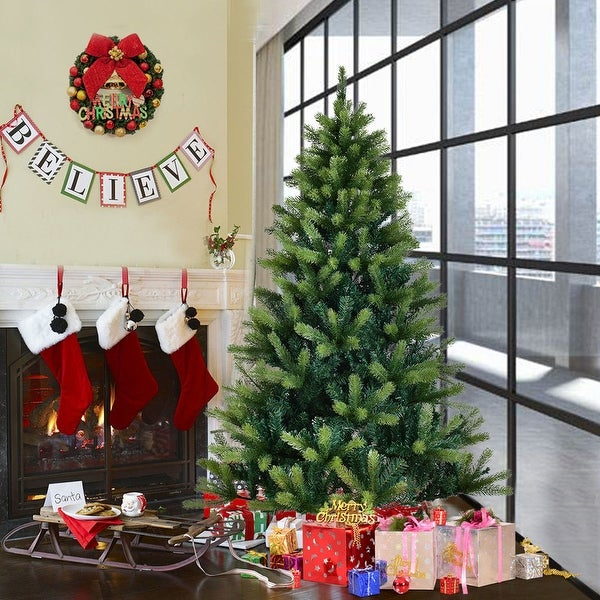 Costway 6 Ft Artificial Christmas Tree 804 Tips With Solid Metal Legs Green Full Tree