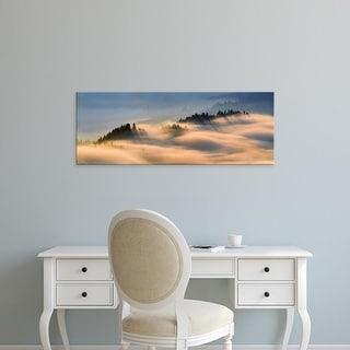 Easy Art Prints Panoramic Images's 'Fog over mountain range, Pieniny, Poland' Premium Canvas Art