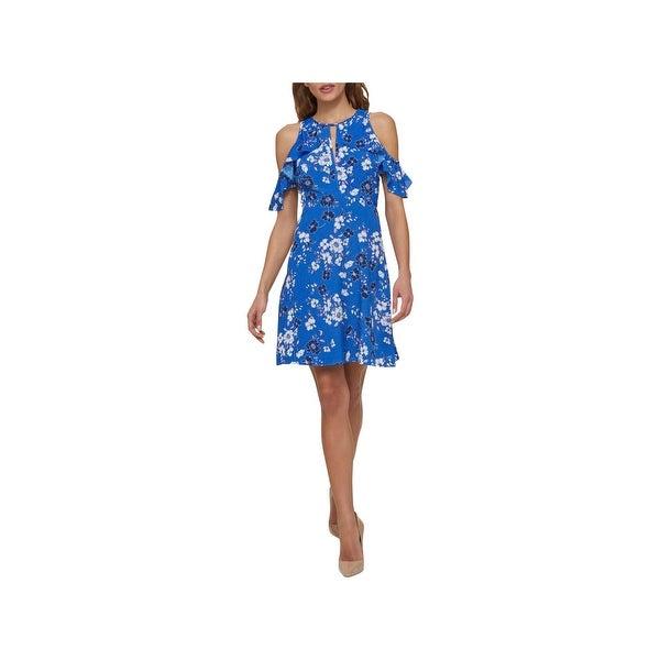 Jessica Simpson Womens Special Occasion Dress Cold Shoulder Mini