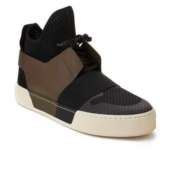 Shop Balenciaga Men s Elastic Trainer High Top Sneaker Black Olive ... 2035a8aa4593