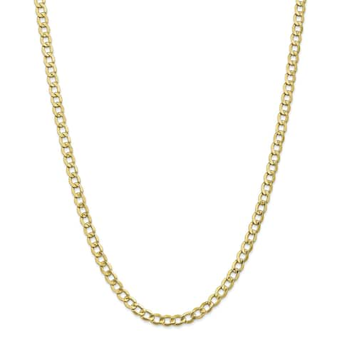 10K Yellow Gold 5.25mm Polished Semi-solid Curb Link Chain by Versil