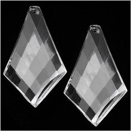 Clear Acrylic Large Faceted Pendant - Diamond Twist - 47x29mm (10 Pieces)