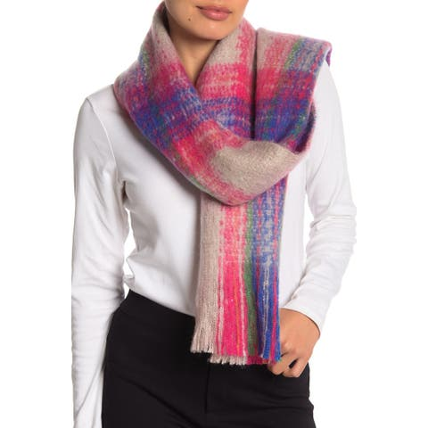 David and Young Gray Pink Women's One Size Fringe-Trim Plaid Scarf
