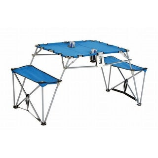 Portable Fold-up Table and Bench with Cupholders Backpack Set-Blue - Blue