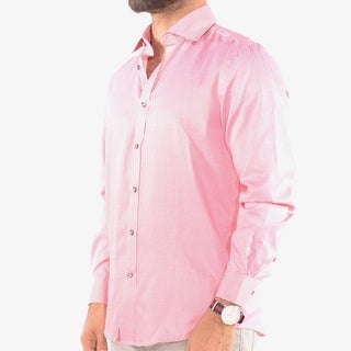 International Report Men's Dress Shirt With Long Sleeves in Pink Micro Print
