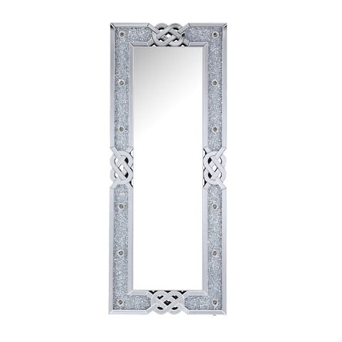 Contemporary Rectangular Accent Floor Mirror with Faux Diamond Inlay,Silver