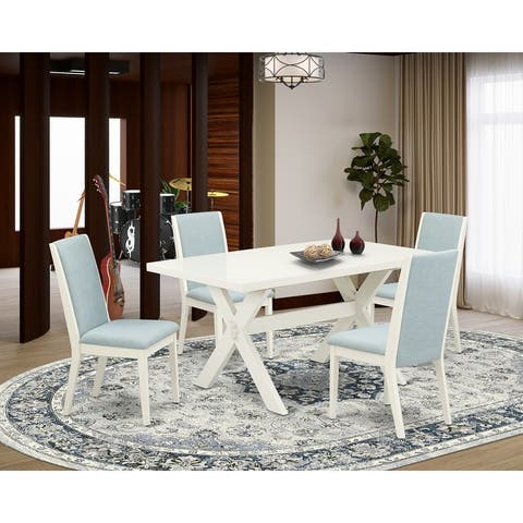 X026LA015-7 7Pc Dinette Set Includes a Wood Table and 6 Upholstered Dining Chairs with Baby Blue Color Linen Fabric