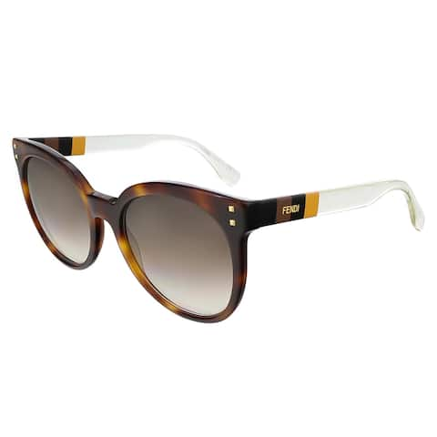 00bfde5df787e Fendi FF0083S 0E6Z Havana Penquin Yellow Crystal Round sunglasses