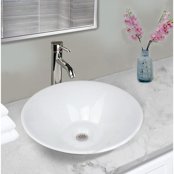 Highpoint Collection 17-inch Round Tapered Ceramic White Bathroom Vessel Sink