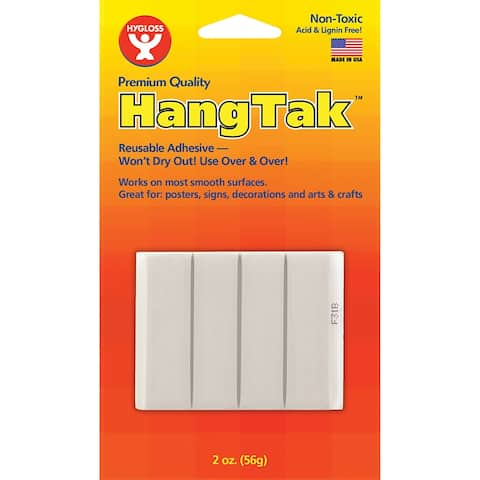 HangTak Reusable Adhesive, White, 2 oz. Per Pack, 12 Packs
