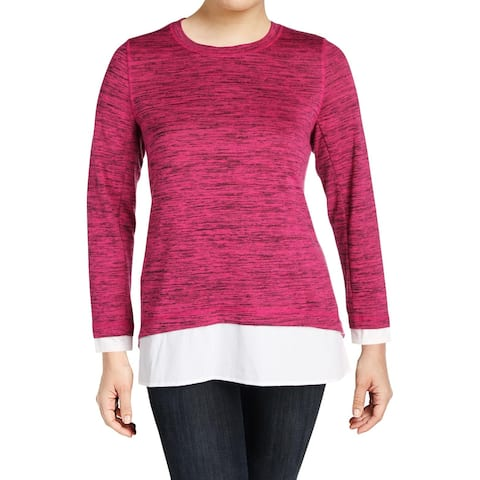 Marc New York Womens Plus Pullover Sweater Space Dye Mixed Media