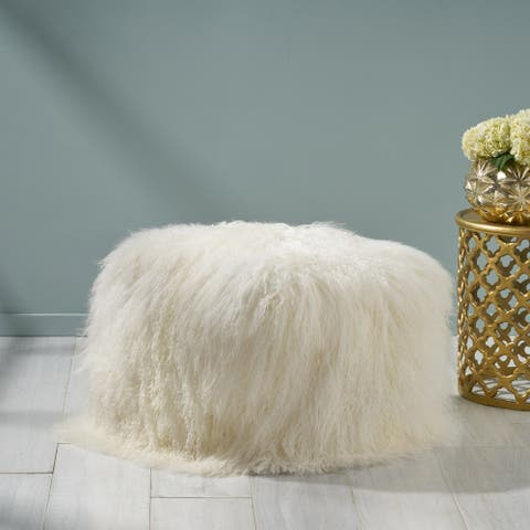 Bo Peep Glam Lamb Wool Square Pouf by Christopher Knight Home