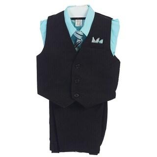 Angels Garment Little Boys Aqua 4 Piece Pin Striped Vest Set Suit 2T-7