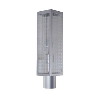 """Craftmade Z4525SC Deka Single Light 18-15/16"""" High Outdoor Post Light with Square Patterned Clear Glass Shade"""