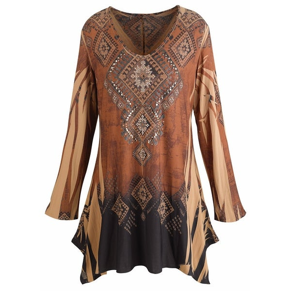 Women's Tunic Top - Mountain Spirit Vintage Pattern Brown Shirt