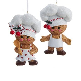 """3.5"""" Gingerbread Kisses Chef Cookie Boy Glittered Christmas Ornament - Brown"""
