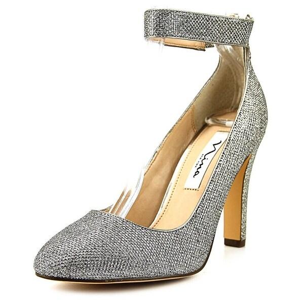 Nina Ivelis Women Round Toe Canvas Silver Heels
