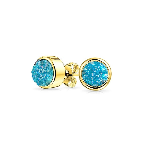 f8af1cfdb Shop Simple Fashion Bezel Set Natural Dyed Blue Druzy Quartz Gemstone Stud  Earrings Gold Plated Brass 8mm - On Sale - Free Shipping On Orders Over $45  ...