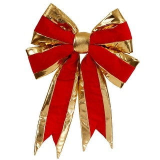 "16"" x 19"" Red Structured Bow Gold Trim"