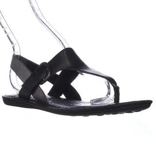 Born Kasia T-Strap Thong Slingback Flat Sandals, Black - 8 n us / 39 eu