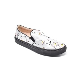 Giambattista Valli White Flower Embroidered Slip-on Sneakers Size 40 / 10