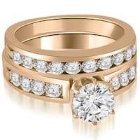 1.95 cttw. 14K Rose Gold Round Cut Diamond Engagement Set