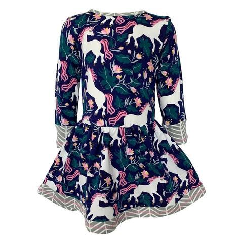 AnnLoren Baby Big Girls Boutique Original Magical Unicorn Cotton Fall Winter Dress