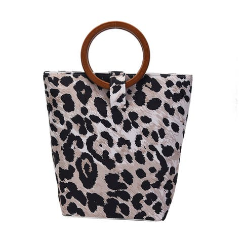 Hong Kong Collection Leopard Skin Print Tote Bag with Wooden Handle