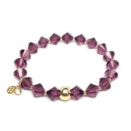 February Birthstone Color, Amethyst Purple 'Rachel' Stretch Bracelet, Swarovski Crystal 14k over Sterling Silver