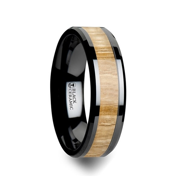 THORSTEN - FILMORE Black Ceramic Ring with Polished Bevels and Ash Wood Inlay - 6mm