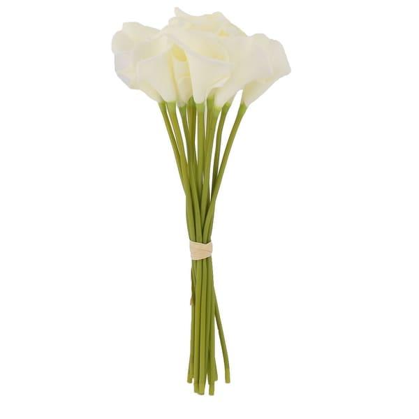 Banquet Bridal Wedding Bouquet Gift Calla Lily Artificial Flowers White 12 Pcs