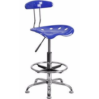 Offex Vibrant Nautical Blue and Chrome Drafting Stool with Tractor Seat [OF-LF-215-NAUTICALBLUE-GG]