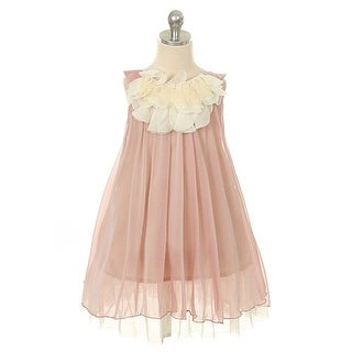 Kids Dream Little Girls Coral Chiffon Floral Lace Bodice Easter Dress 2T-14