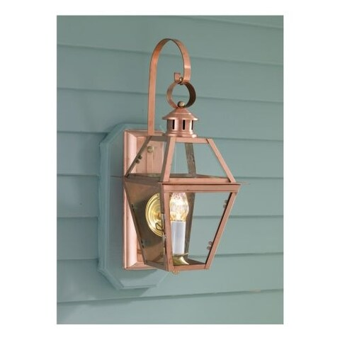 """Norwell Lighting 2253 Old Colony Copper Single Light 22"""" Tall Outdoor Wall Sconce with Clear Glass Shade"""