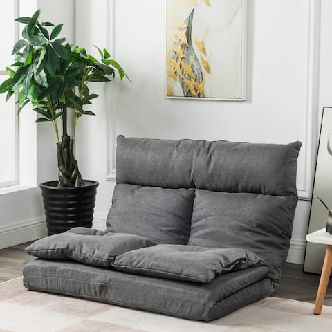 Global Pronex Floor Chair Adjustable Foldable Futon Sofa Bed with 2 Pillows, Mattress Recliner & Available Colors