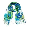 Women's Fashion Floral Soft Wraps Scarves - F10 Green Blue - Large - Thumbnail 0