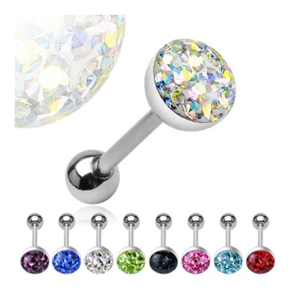 Surgical Steel Barbell with 8mm Austrian Crystal Gem Dome Top (Sold Ind.)