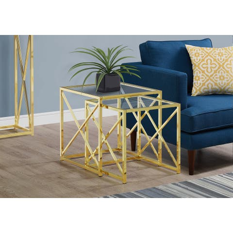 Monarch 3445 Two Piece Gold Metal With Tempered Glass Nesting Table Set