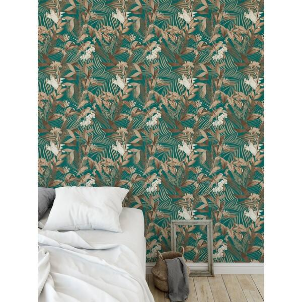 Shop Tropical Jungle Aqua Peel And Stick Wallpaper By Kavka Designs 2 X 16 Overstock 31638239