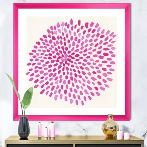 Designart 'Pink Burst' Mid-Century Modern Framed Art Print