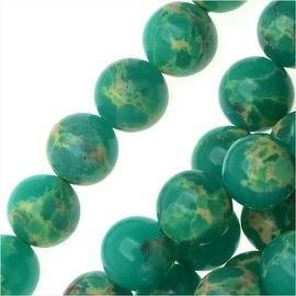 Impression Jasper Gemstone Beads, Round 6mm, 15 Inch Strand, Teal Green