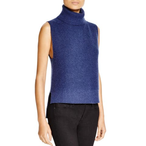 Magaschoni Womens Turtleneck Sweater Hi-Low Sleeveless