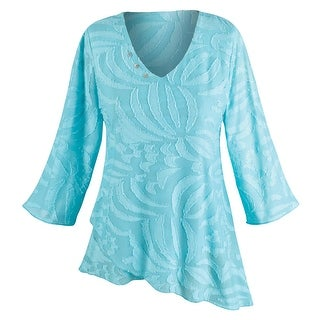 Women's Tunic Top - Island Blue Textured Blouse - 3/4 Length Sleeves