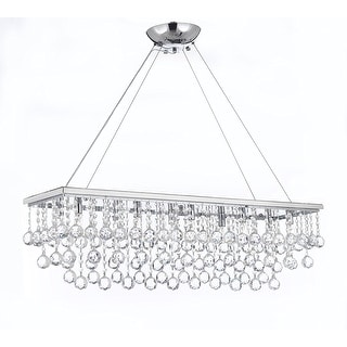 "Modern 10 Light 40"" Chandelier With Crystal Balls"