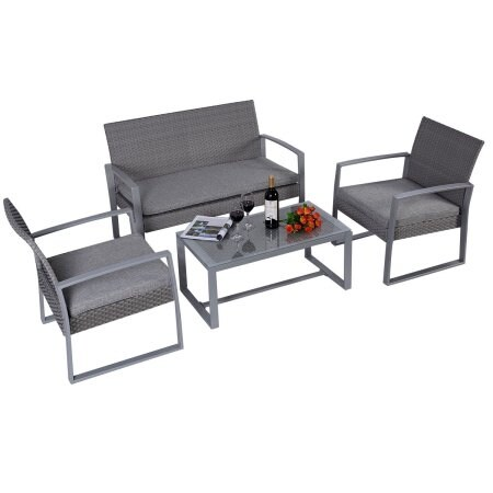 Shop Costway 4pc Patio Furniture Set Cushioned Outdoor Wicker Rattan Garden  Lawn Sofa Seat - Grey - On Sale - Free Shipping Today - Overstock.com -  18522277 - Shop Costway 4pc Patio Furniture Set Cushioned Outdoor Wicker Rattan