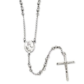 Stainless Steel 4mm Bead Rosary Necklace (4 mm) - 25 in