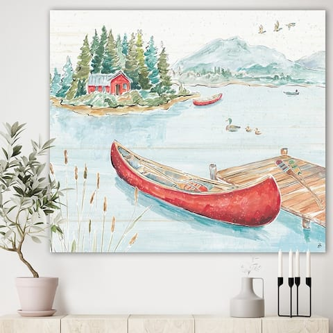 Designart 'Lake House Canoes II' Lake House Canvas Art - Green