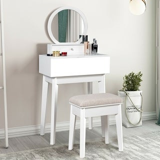 Link to Makeup Dressing Wall Mounted Vanity Mirror with 2 Drawer - White Similar Items in Bedroom Furniture